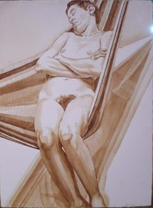 1973 Female Model Reclining in Hammock Sepia 30.5 x 22.5