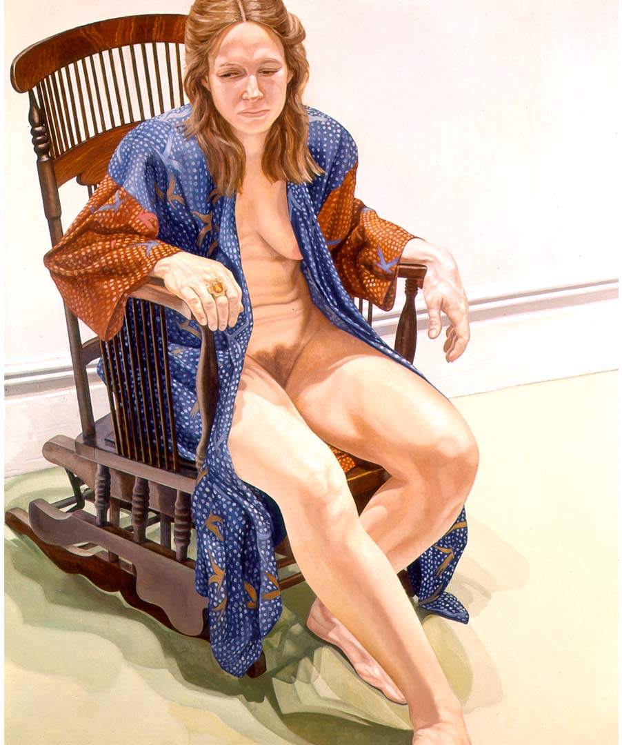 "1973 Female Model in Robe Seated on Platform Rocker Oil on Canvas 72"" x 60"""