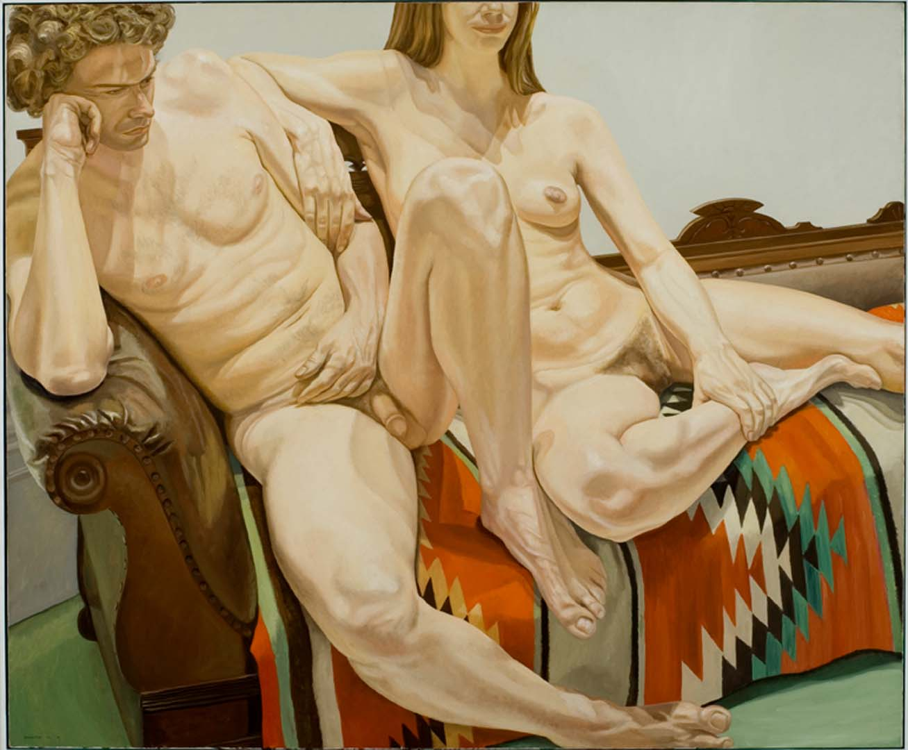 1973 Male and Female Models on Victorian Sofa with Indian Blanket Oil on Canvas 60 x 72