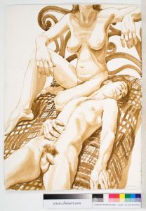 1973 Seated Female Model and Male Model on Quilt Sepia Wash 22.25 x 30.375