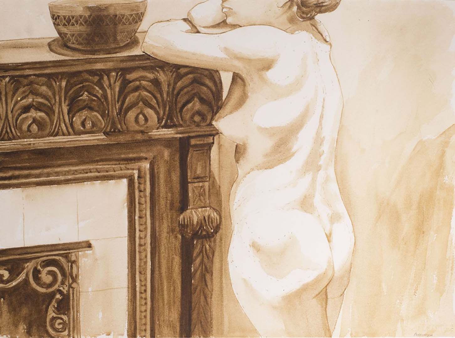 1973 Standing female model leaning on fireplace Watercolor 22.4 x 30.3in