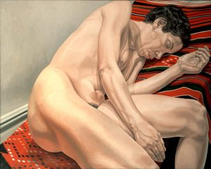 1974 Female Model Reclining on Indian Rug Oil on Canvas 48 x 60