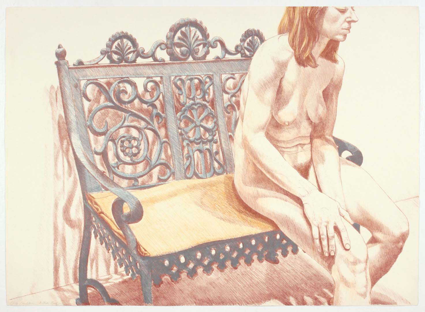 "1974 Girl on Iron Bench Lithograph on Paper 24.75"" x 34.5"""