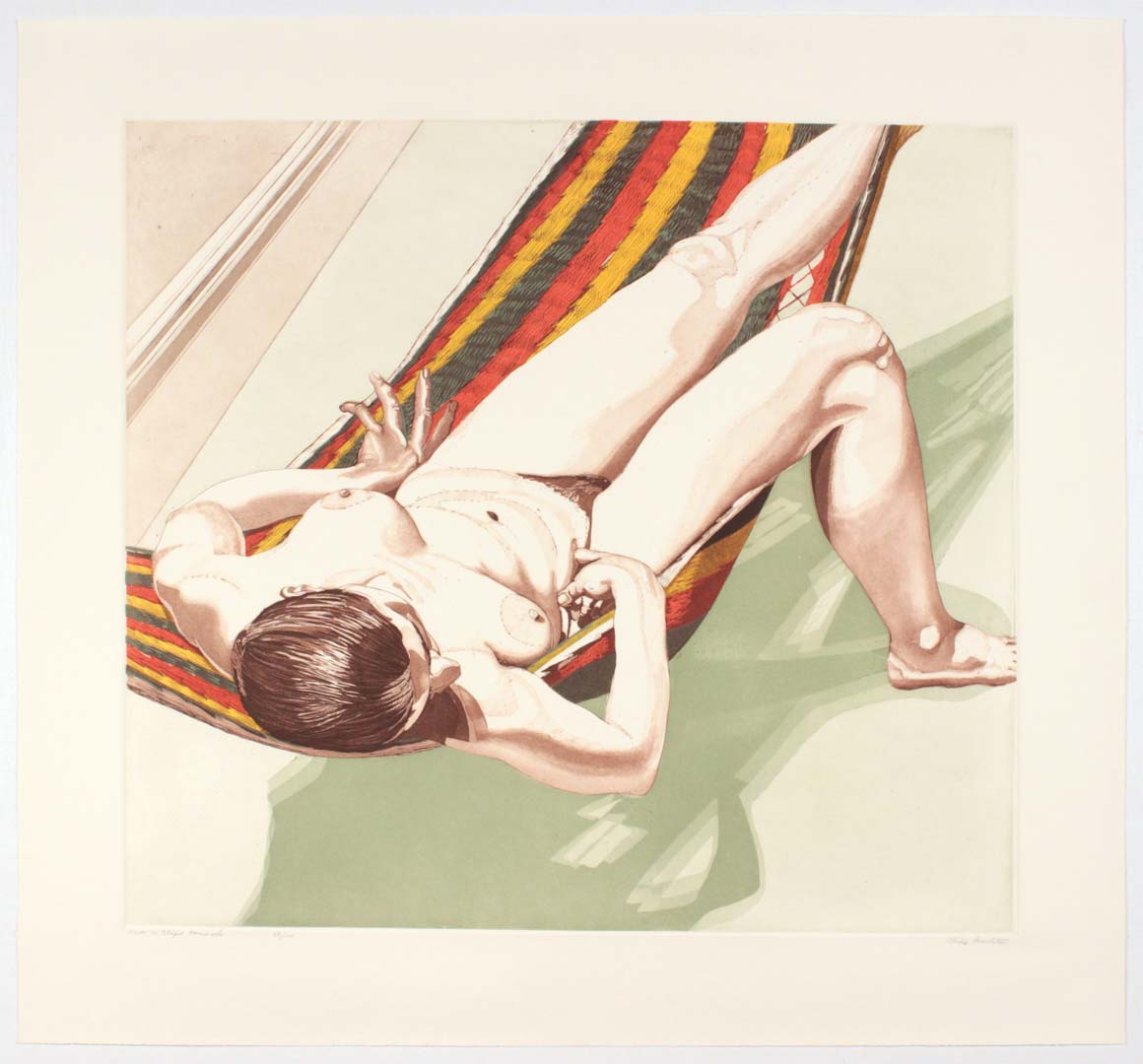 "1974 Nude on Striped Hammock Aquatint Etching on Paper 30"" x 32.25"""