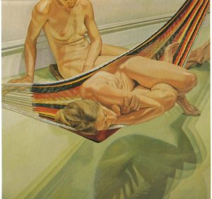 1974 Two Female Models on Hammock and Floor Oil on Canvas 72 x 72