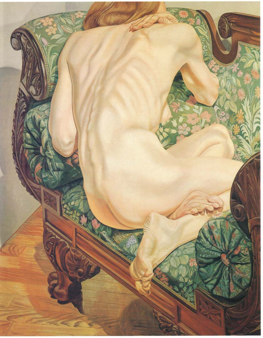 "1975 Female Model on Brocade Sofa Oil on Canvas 60"" x 48"""