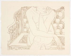 1975 Nude on Iron Bench Aquatint Etching on Paper 22 x 28