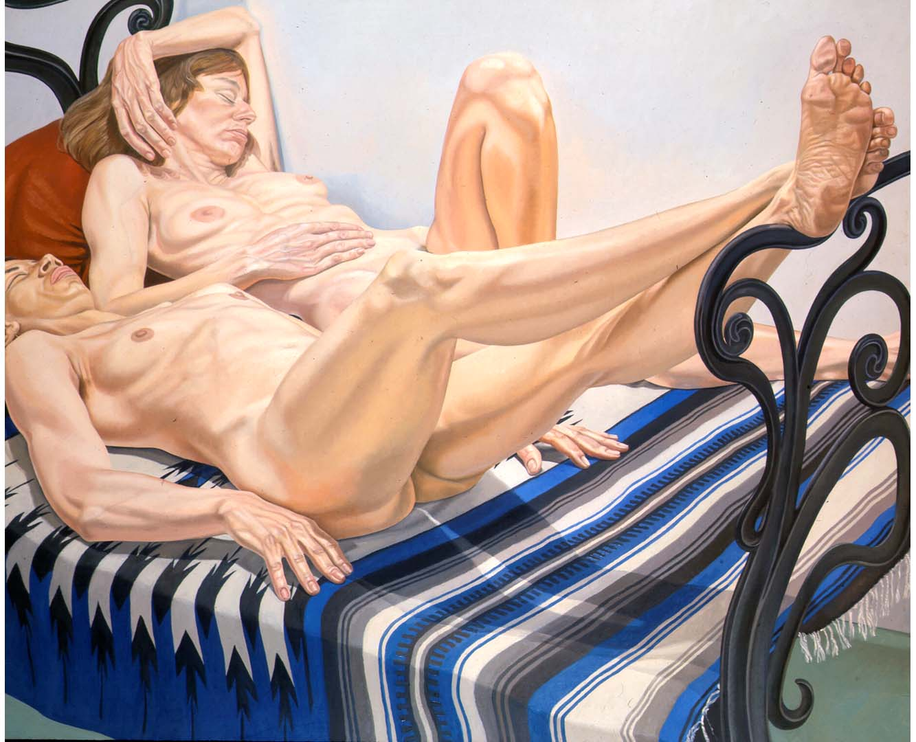 1975 Two Female Models on Cast Iron Bed Oil on Canvas 60 x 72
