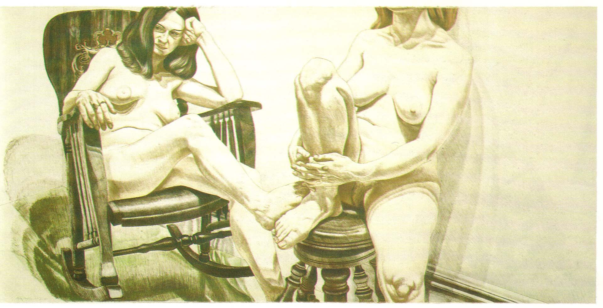"1975 Two Female Models on Rocker and Stool Lithograph on Paper 36"" x 74"""