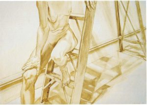 "1976 Female Model on Ladder Sepia Wash on Paper 29.5"" x 41"""