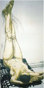 1976 Female Nude with Legs Up (Color) Lithograph on Paper 28.375 x 14.25