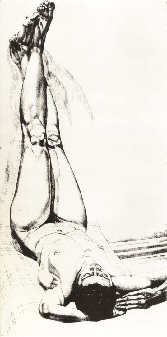 1976 Female Nude with Legs Up (B&W) Lithograph on Paper 28.375 x 14.25