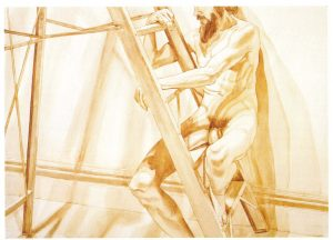 """1976 Male Model on Ladder Sepia Wash on Paper 29.5"""" x 41.5"""""""