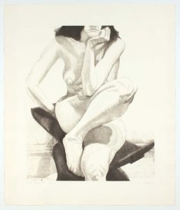 1976 Nude on Dahomey Stool Aquatint Etching on Paper 30.75 x 26.25