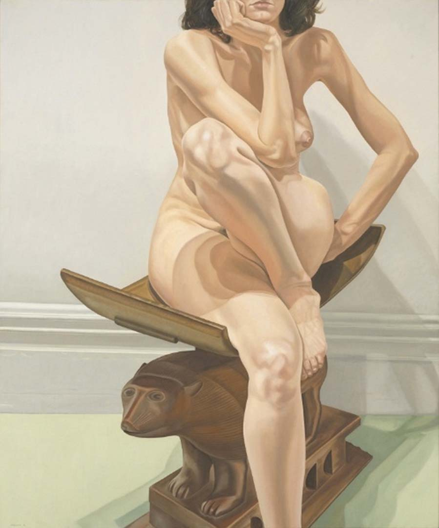 "1976 Female Model on African Stool Oil on Canvas 72"" x 60"""