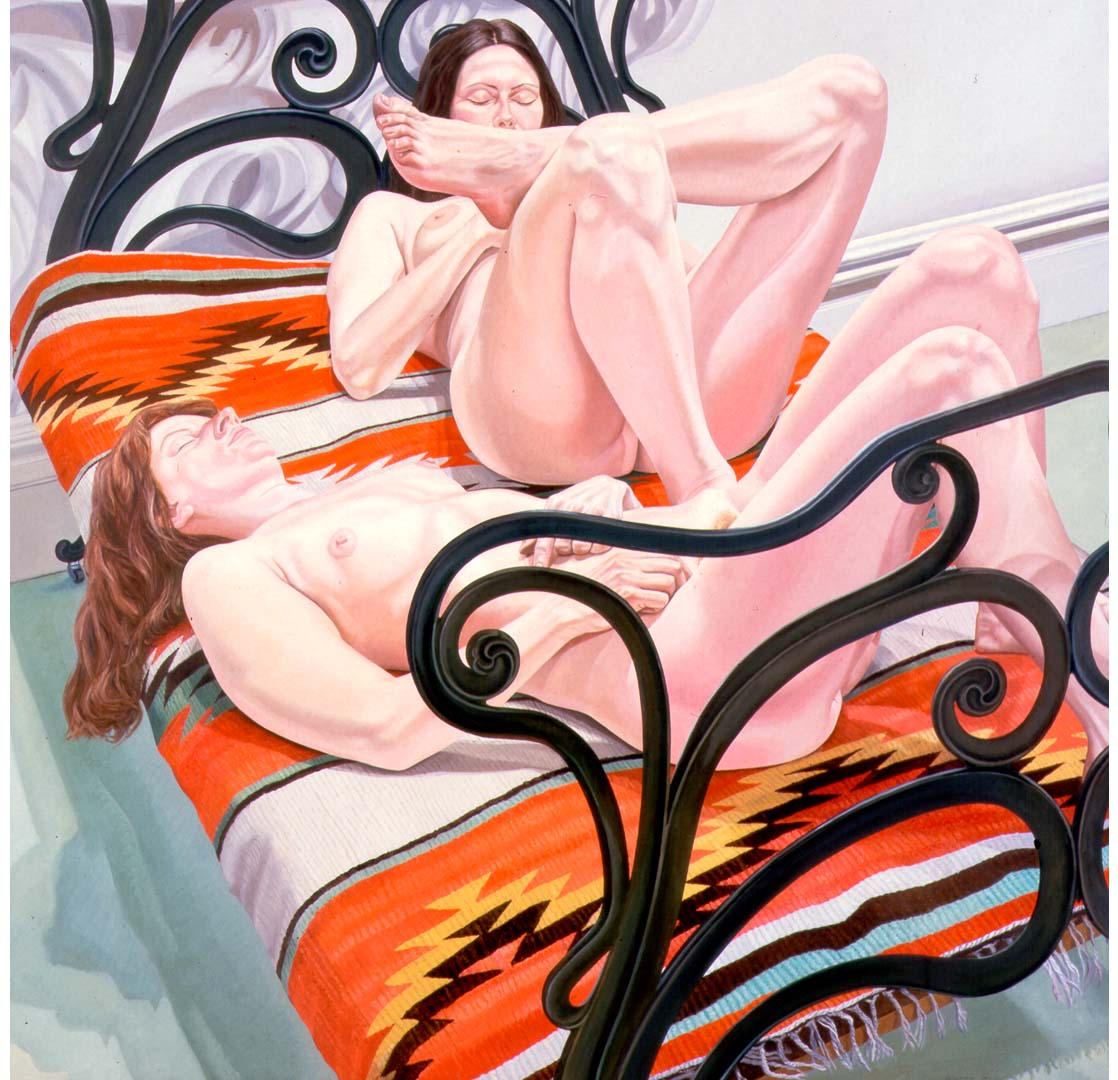 "1976 Two Female Models on Cast Iron Bed Oil on Canvas 72"" x 72"""