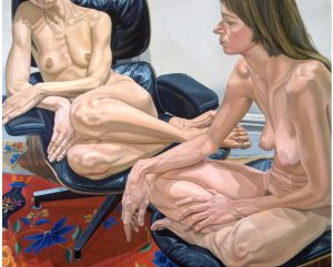 1976 Two Female Models on Eames Chair and Stool Oil on Canvas 60 x 72