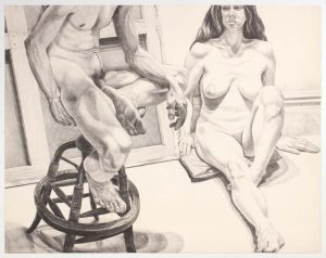 1976 Two Nudes on Oak Stool and Canvas Lithograph on Paper 29.125 x 37