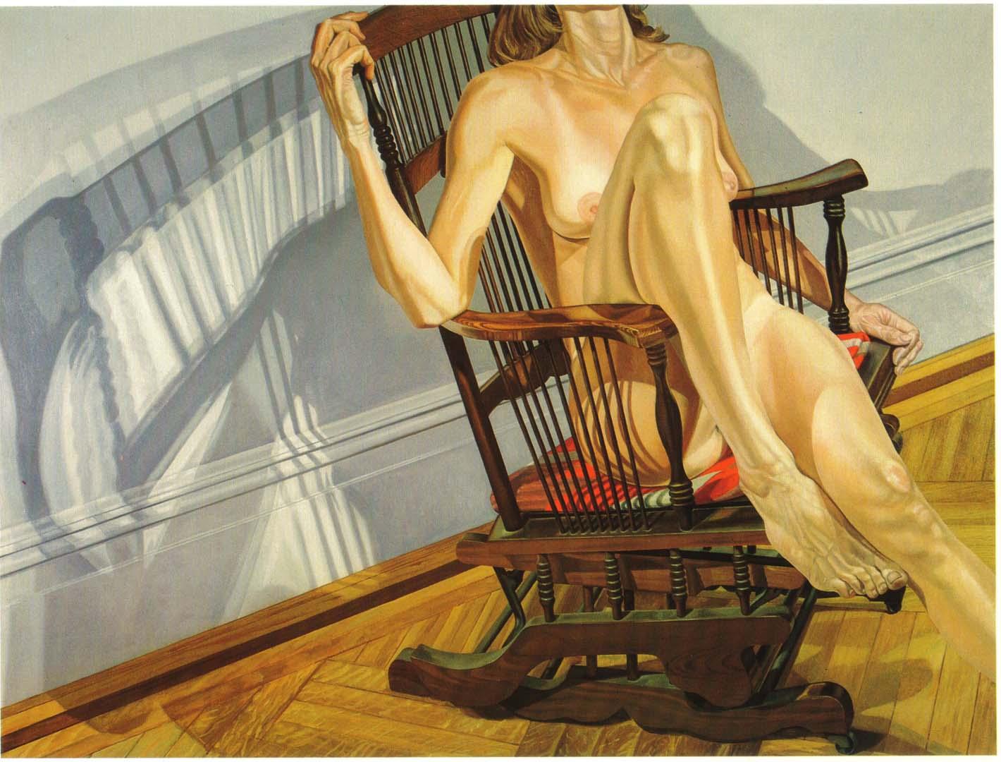 1978 Female Model on Platform Rocker Oil on Canvas 72 x 96