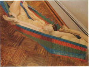 1978 Two Female Models in Hammock Oil on Canvas 72 x 96