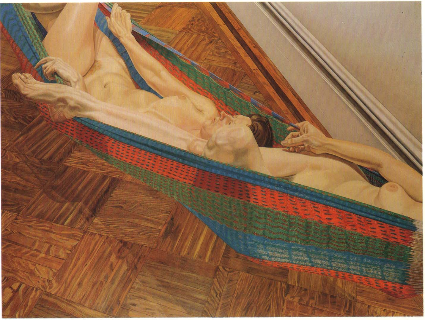 "1978 Two Female Models in Hammock Oil on Canvas 72"" x 96"""