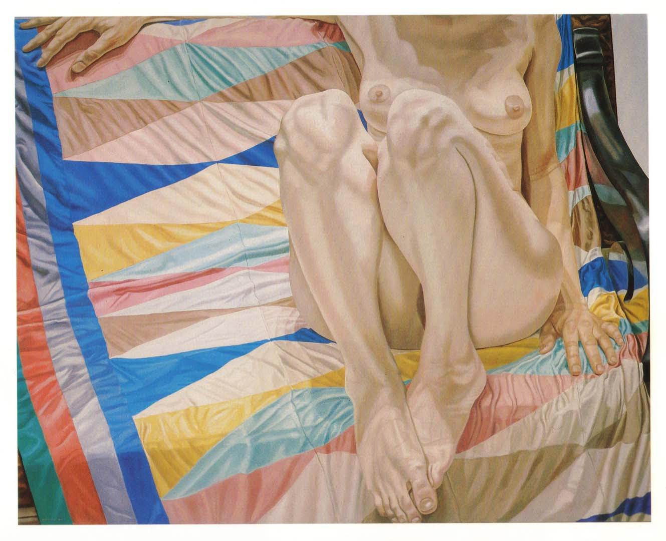 "1977 Female Model on Lozenge Patterned Drape Oil on Canvas 48"" x 60"""