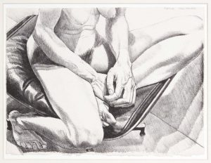 1977 Nude on Eames Stool Lithograph on Paper 11.5 x 15