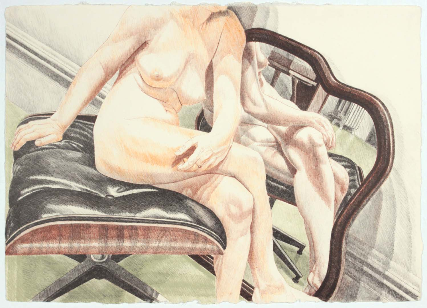 1977 Nude on Eames Stool with Mirror Lithograph on Paper 20.125 x 28.25