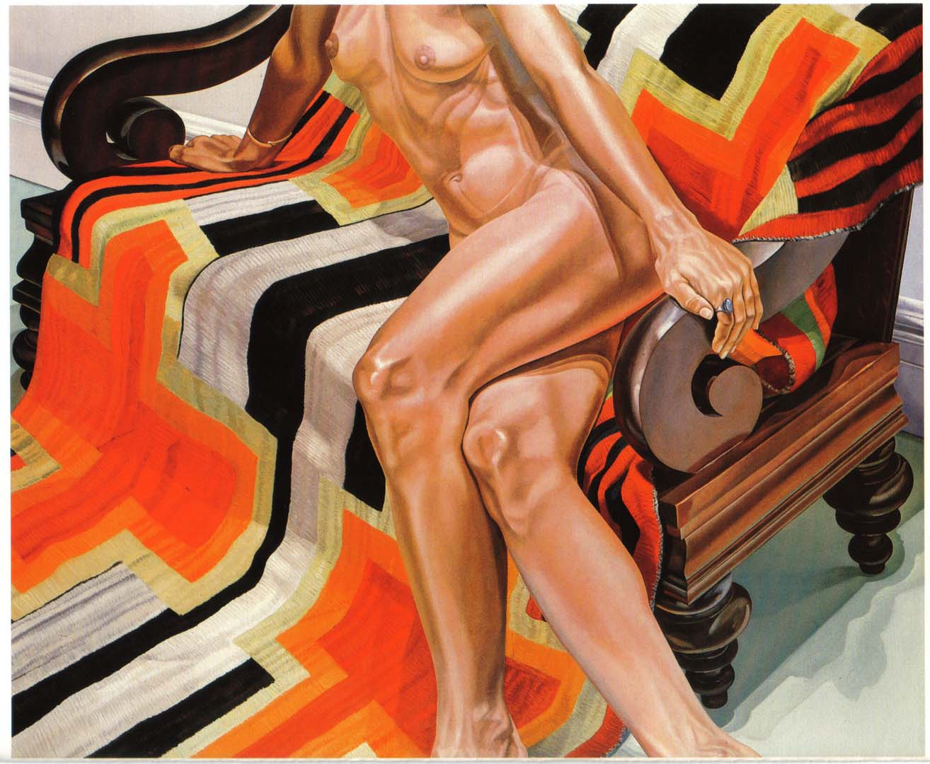 """1978 Female Model on Chief's Blanket Oil on Canvas 60"""" x 72"""""""