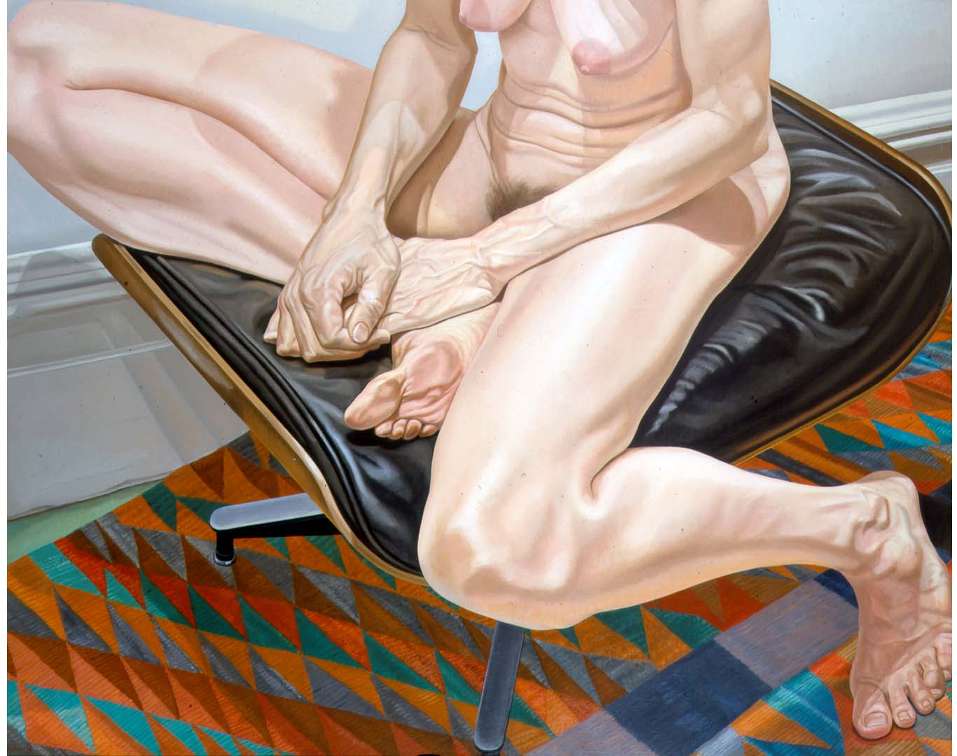 "1978 Female Model on Eames Stool Oil on Canvas 48"" x 60"""
