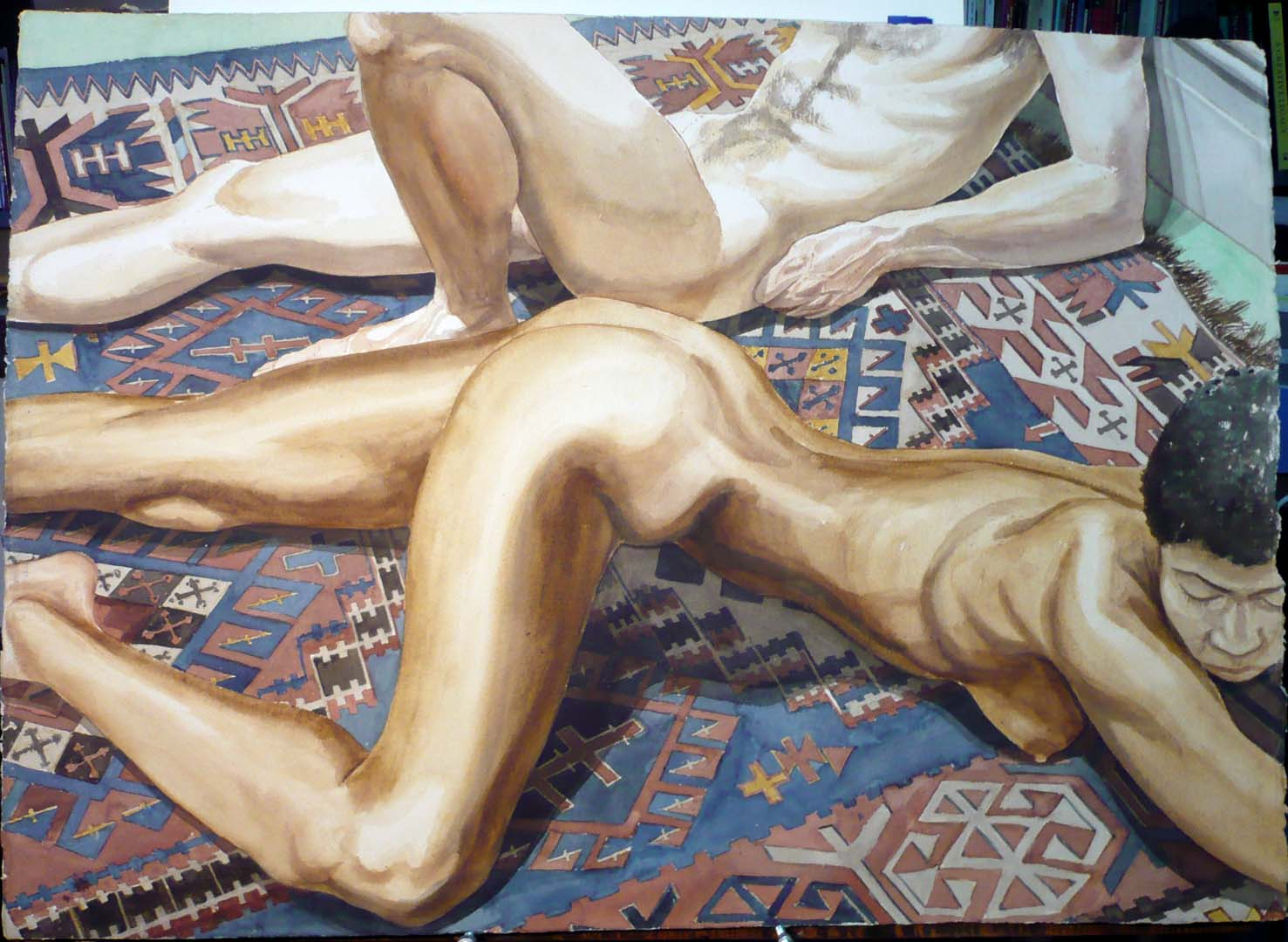 "1978 Male and Female Models Reclined on Indian Blanket Watercolor on Paper 29.375"" x 41"""