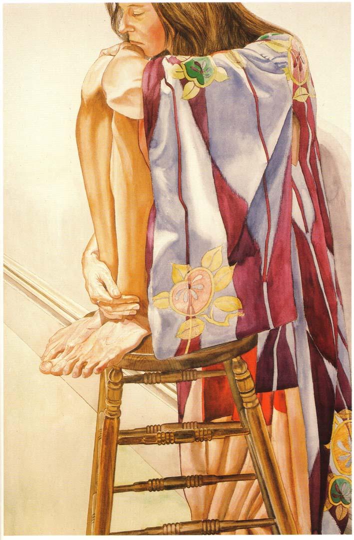 1978 Model in Plum Colored Kimono