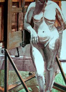 1978 Nude Standing by Easel Lithograph on Paper 30 x 22