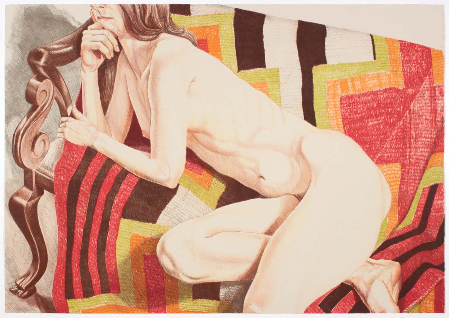 "1978 Nude on Chief's Blanket (Color) Lithograph on Paper 28"" x 40"""