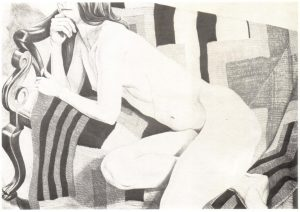 "1978 Nude on Chief's Blanket (B&W) Lithograph on Paper 28"" x 40"""