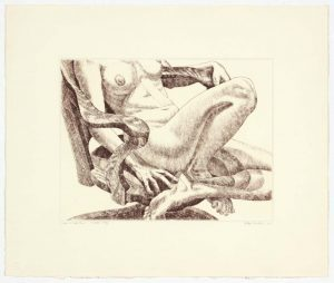 1978 Nude on Oak Chair Aquatint Etching on Paper 15 x 18