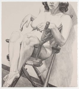 1978 Nude on a Directors Chair Lithograph on Paper 19.625 x 17.25