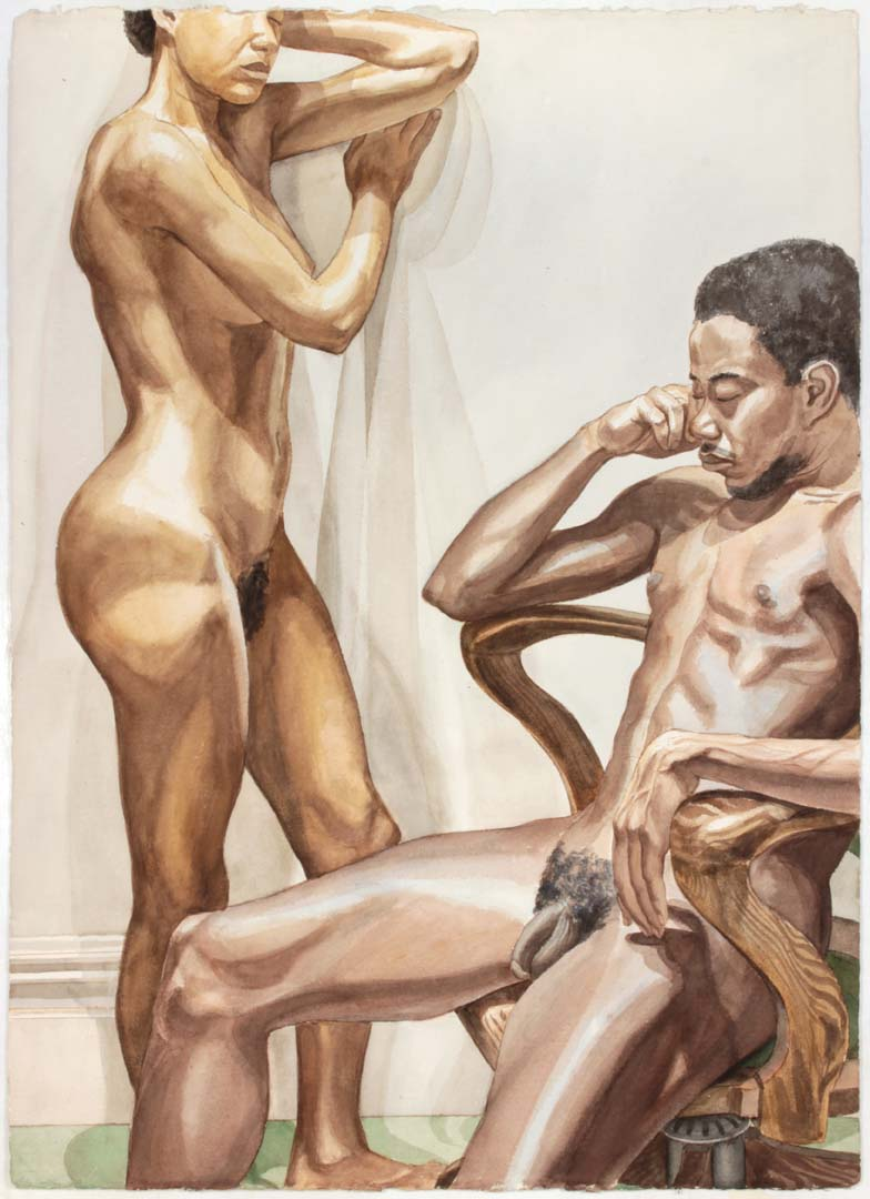 1978 Standing Female and Seated Male in Swivel Chair Watercolor on Paper 41 x 29.5