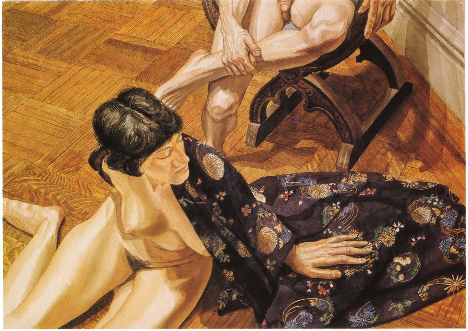 1978 Japanese Robed Model Seated on Floor