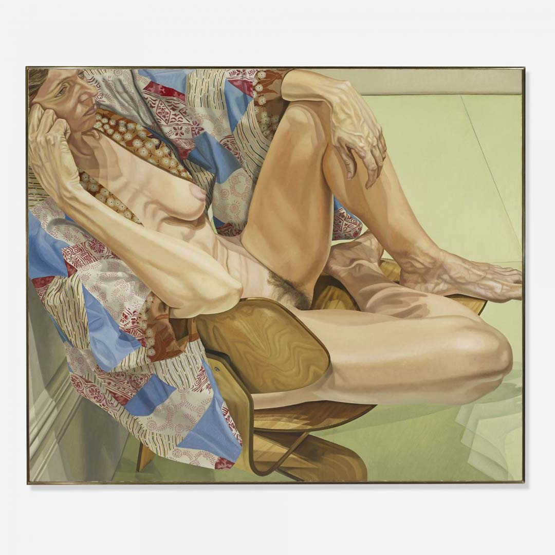 "1979 Model In Kimono On Eames Chair Oil on Canvas 60"" x 72"""