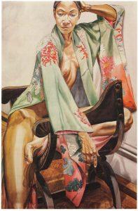 1979 Model in Green Kimono on Savonarola Chair Watercolor on Paper 59.625 x 40