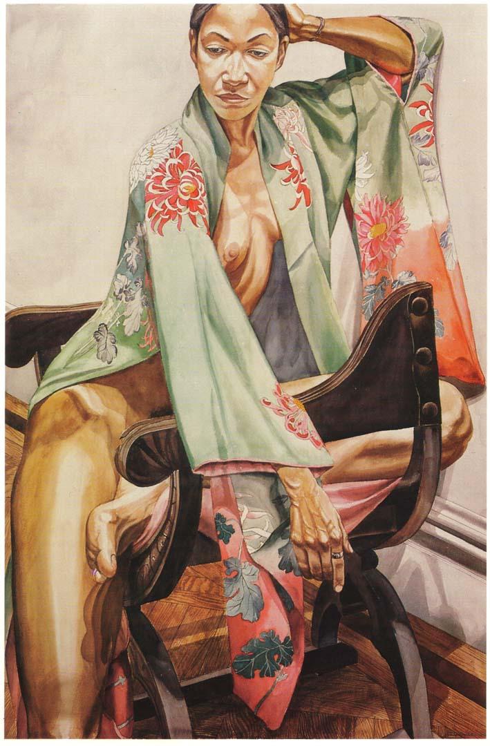 "1979 Model in Green Kimono on Savonarola Chair Watercolor on Paper 59.625"" x 40"""