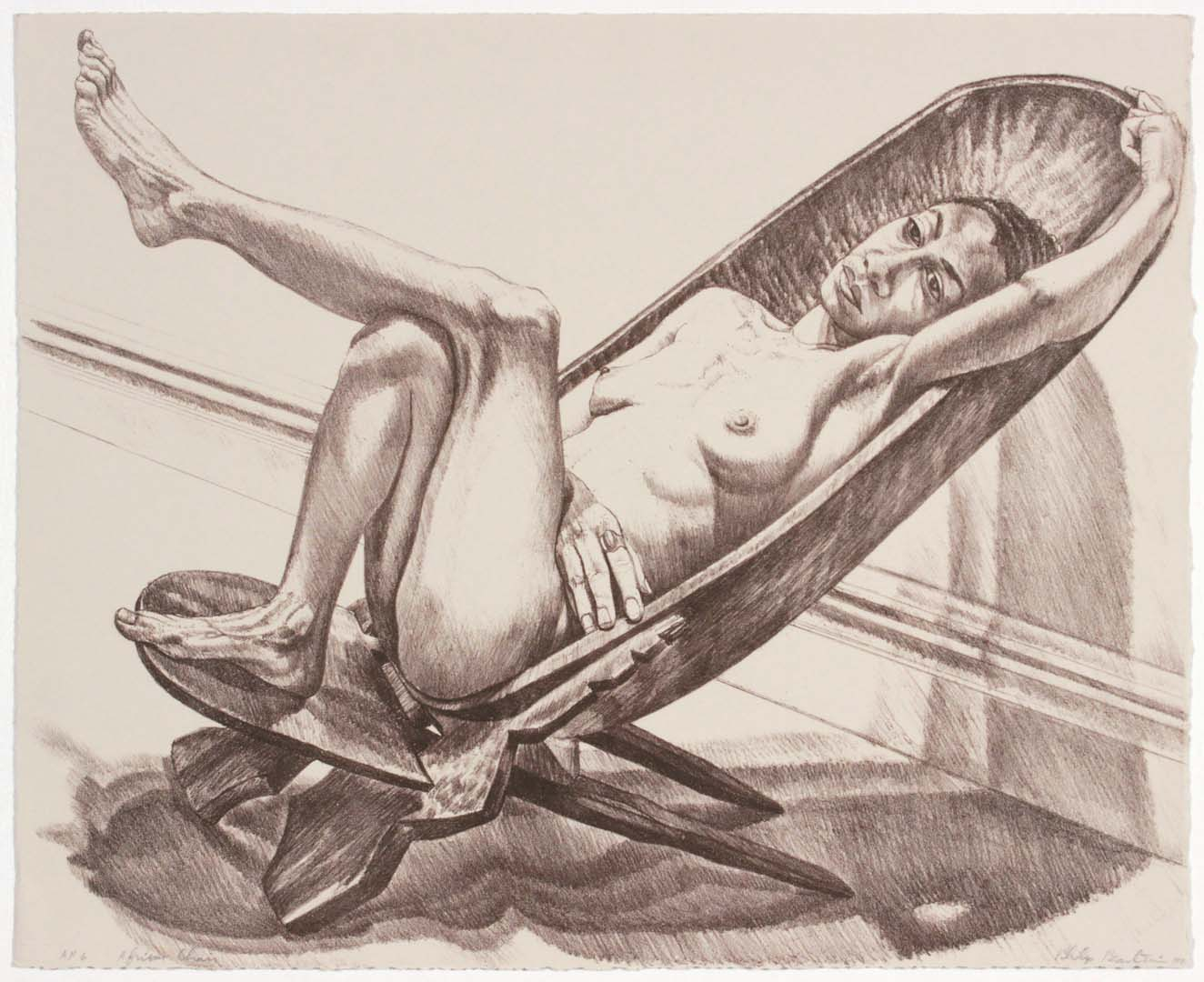 "1980 African Chair Lithograph on Paper 16.5"" x 20.5"""