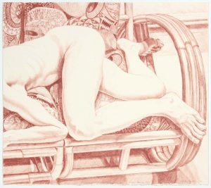 1981 Nude on Bamboo Sofa Lithograph on Paper 21 x 24