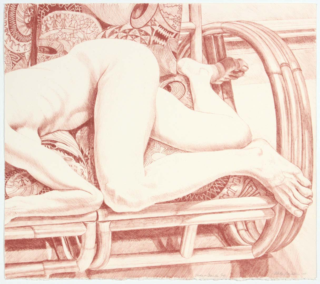 "1981 Nude on Bamboo Sofa Lithograph on Paper 21"" x 24"""