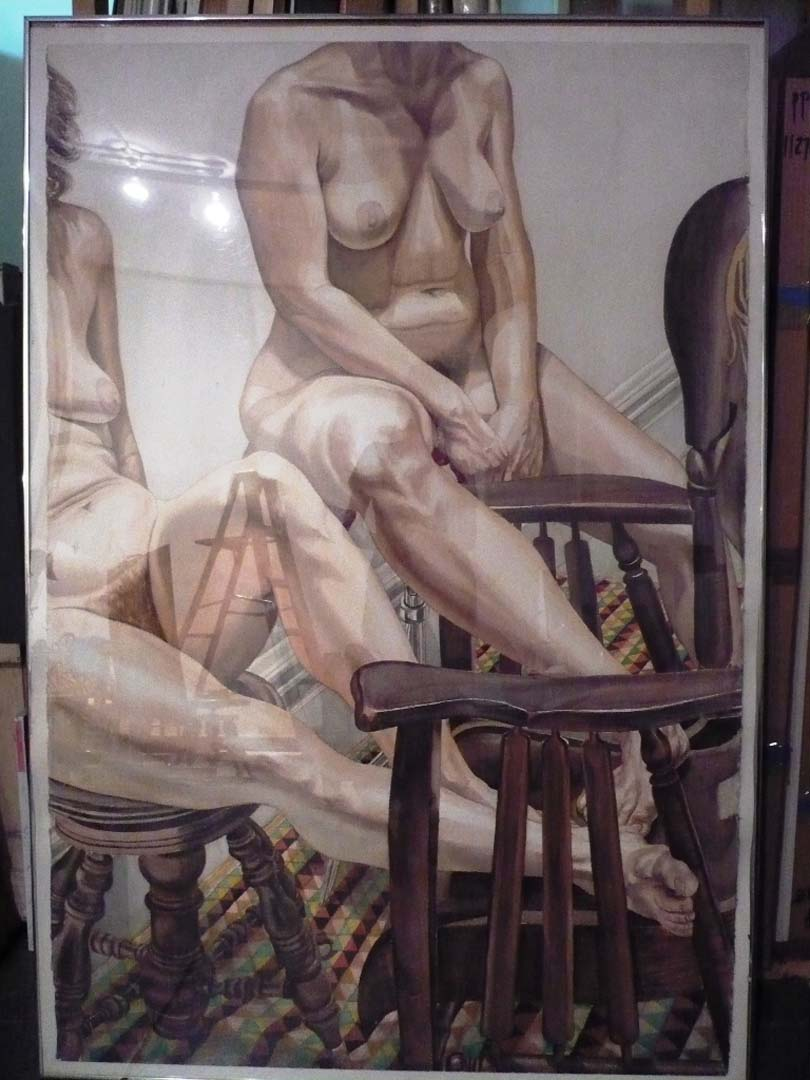 1982 Models with Victorian Rocker Watercolor on Paper 60 x 40