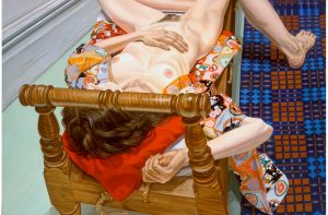 1982 Reclining Model in Kimono with Homespun Blanket Oil on Canvas Dimensions Unknown