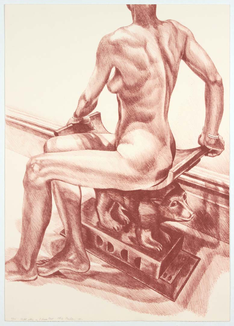 """1982 Seated Model on African Stool Lithograph on Paper 29.75"""" x 21"""""""