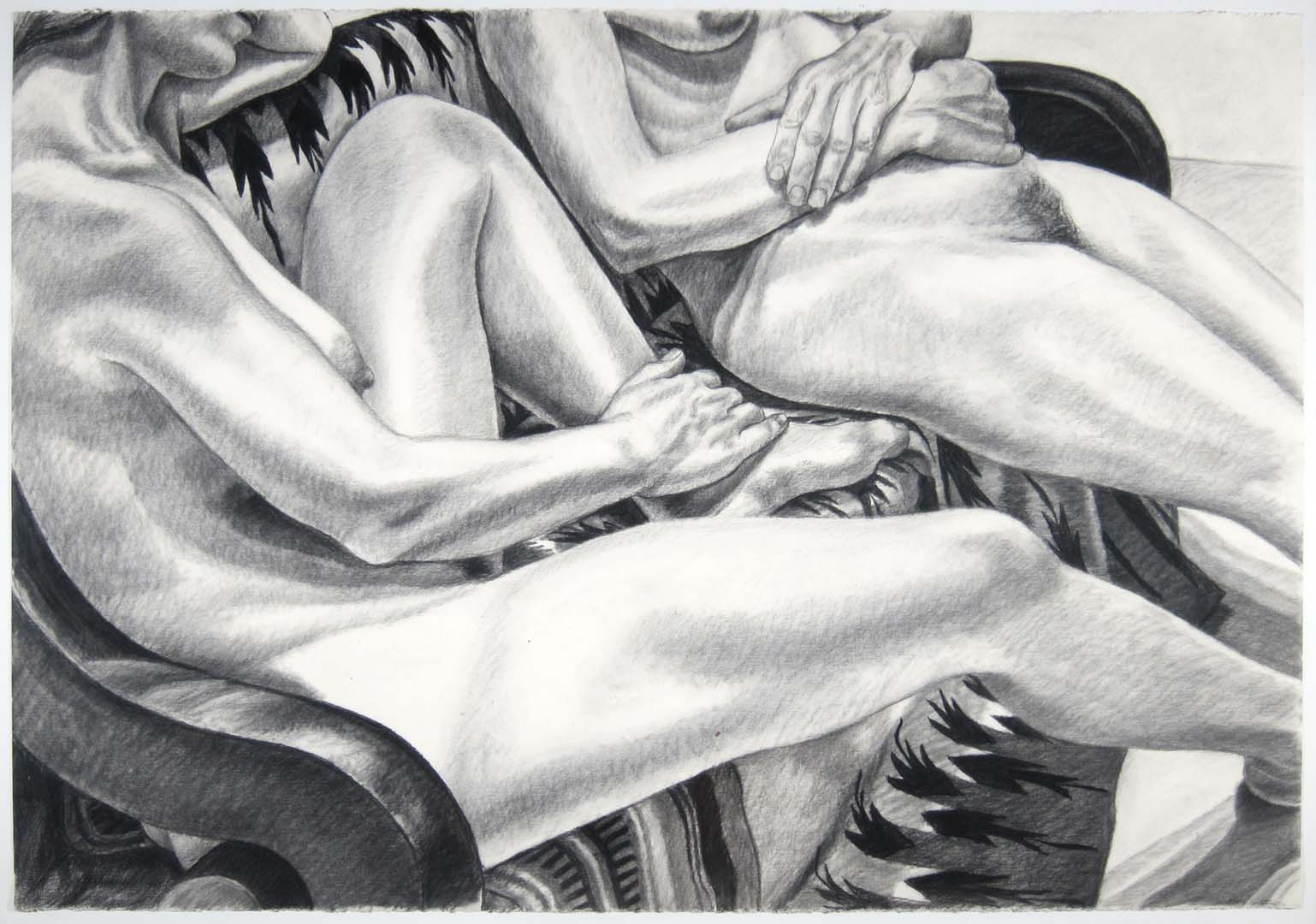 "1982 Two Models Seated on a Mexican Blanket Charcoal 30"" x 44"""