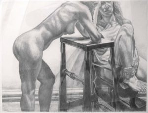 "1982 Two Models with Library Ladder Charcoal 36"" x 44"""